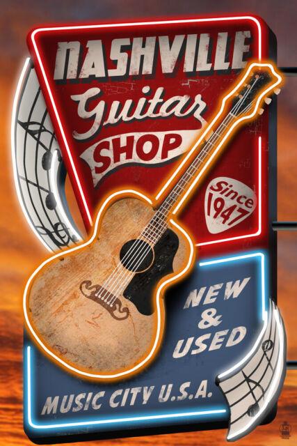 Nashville TN Acoustic Guitar Music Shop LP Artwork (Posters, Wood & Metal  Signs)