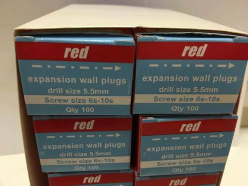 10x Boxes of 100 1000 - NEW Red Expansion Wall//Rawl Plugs Drill Size 5.5mm