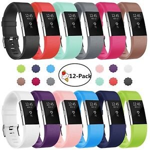 Replacement-Watch-Strap-Band-Metal-Buckle-Wristband-Silicone-For-FitBit-Charge-2