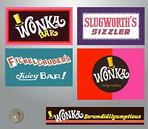 Details About Willy Wonka And The Chocolate Factory Candy Bar Wrapper Sticker Variety Pack