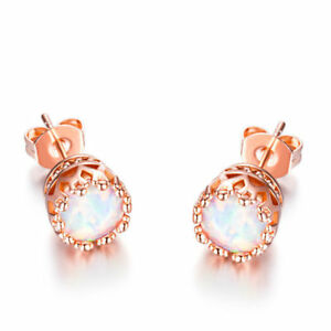 Round-White-Fire-Opal-18K-White-Gold-Plated-stud-post-earrings-5mm-Made-in-USA