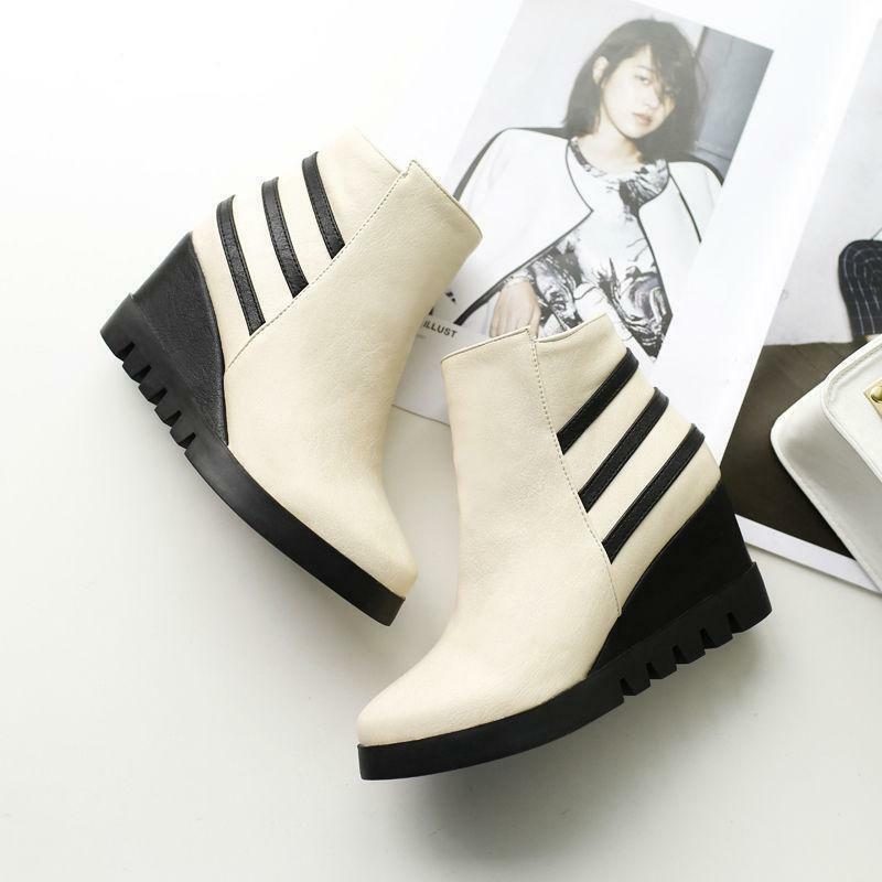 Wedge Heels Womens Side Zipper Pointed Toe Ankle Boots Casual Shoes Plus b34