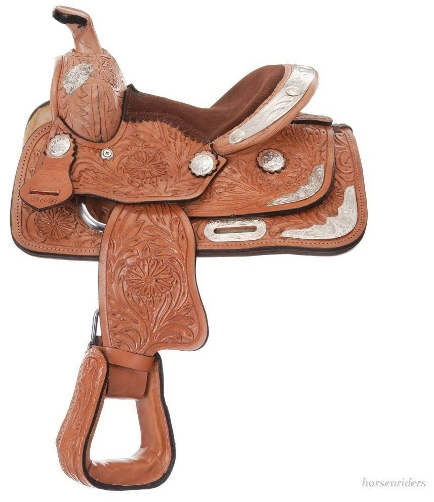 8 Inch Miniature Horse Western Tooled Show Saddle - Light Oil Leather