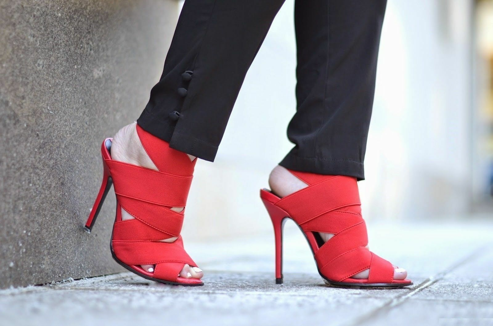 Zara Rojo Envoltura Sandalias Tacón Alto REF. 1392/301