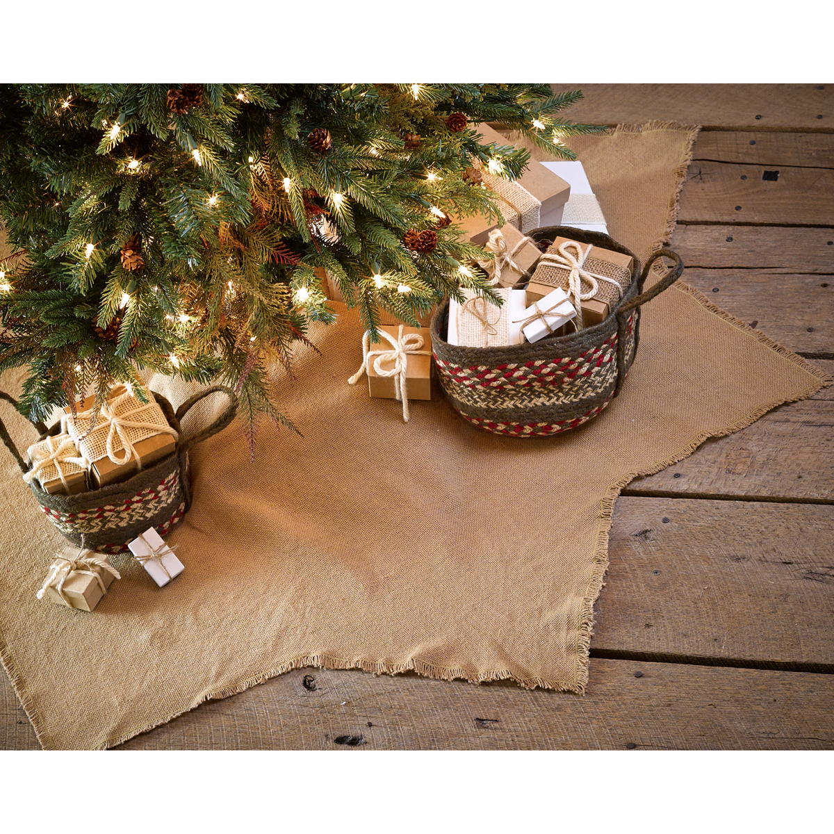 Burlap Ruffle 48 Christmas Tree Skirt Primitive Rustic Country Natural Holiday For Sale Online Ebay