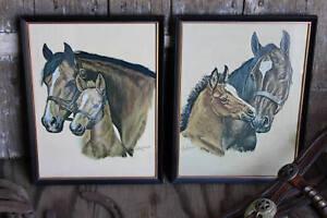 Pair-of-Vintage-Horse-Prints-Ole-Larsen-Framed-Horse-Pictures-Western-Litho