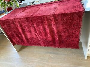 1930s-Chenille-Throw-1920s-Red-Silk-Blend-Tablecloth-Bed-Cover