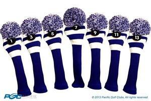 1-3-5-7-9-11-13-Klassisch-Blau-Weiss-Strick-Golfschlaeger-Schlaegerhaube-Pom-Kopf