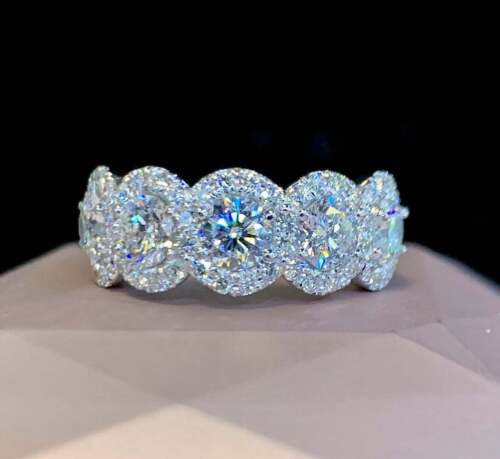 Details about  /4Ct Round Cut VVS1//D Diamond Engagement Wedding Band Ring 14K White Gold Finish