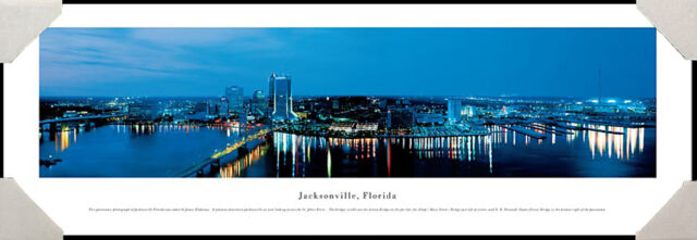 Jacksonville, Florida City Skyline St. Johns River Framed Poster Picture II