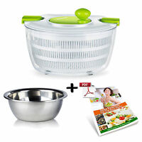 Kitchen 5l Large Anti-slip Salad Spinner Dryer With Stainless Steel Salad Bowl