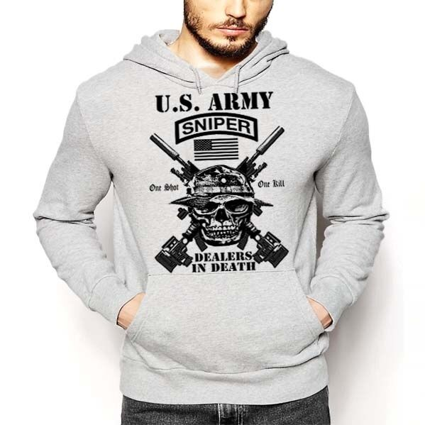 US Army Sniper Hoodie One Shot One Kill Death From Afar Military