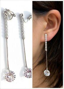 High-Quality-Silver-Zircon-Crystal-Drop-Long-Dangle-Clip-On-Earrings-Non-Pierced