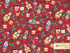 Burgandy Dark Red Nutcracker Solider Christmas Fabric  by the 1/2 Yard