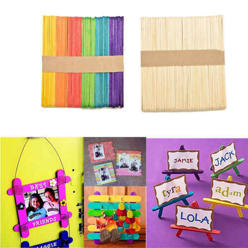 50//100//200X Wooden Lollisicle Ice Lolly  Sticks Arts Cake Crafts Model mZ