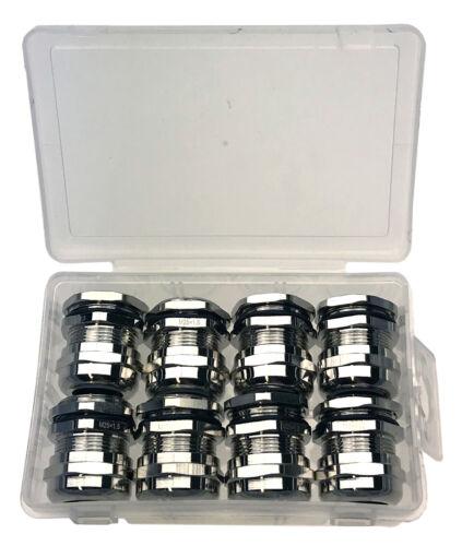 8 unidades cable unión roscada con contra madre niquelados de latón métrico m25