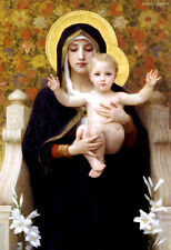 Madonna of the Lilies  by William Bouguereau   Giclee Canvas Print Repro