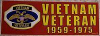 Bumper Window Sticker Vietnam Veteran 1959-1975 Self Stick Vinyl 3x9