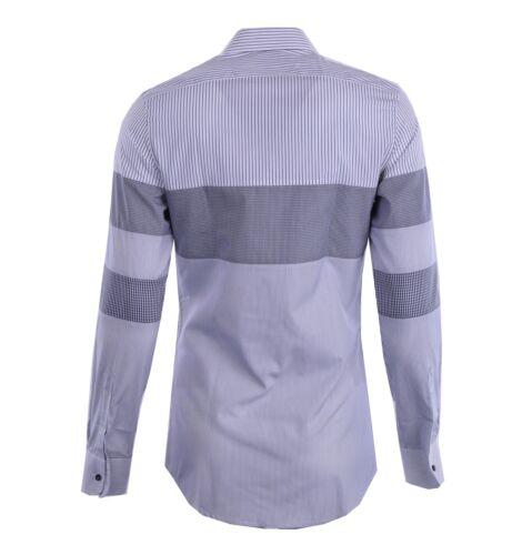 DOLCE /& GABBANA GOLD Striped Patchwork Cotton Shirt White Blue 04823