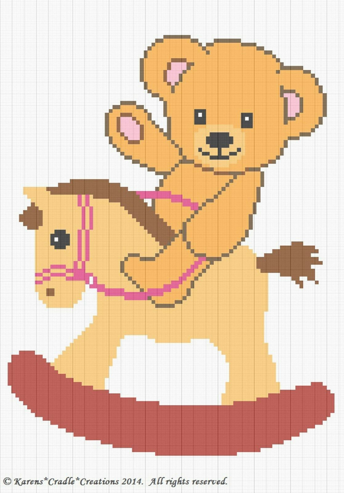 Crochet Patterns Teddy Bear On A Rocking Horse Baby Afghan Graph Pattern For Sale Online Ebay