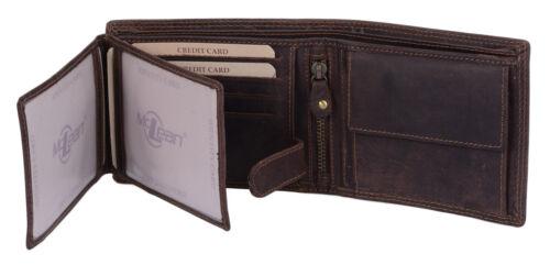 Scheintasche LEAS MCL Riegel Geldbörse in Echt-Leder Portemonnaie Querfor braun
