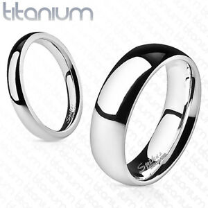 Mens-TITANIUM-Polished-Wedding-Ring-Couple-Band-Civil-Ceremony-Silver-New-1M