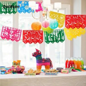 6d9fb09970b3 West Mexican Fiesta Party Pennant Flag Papel Picado Hanging Bunting ...