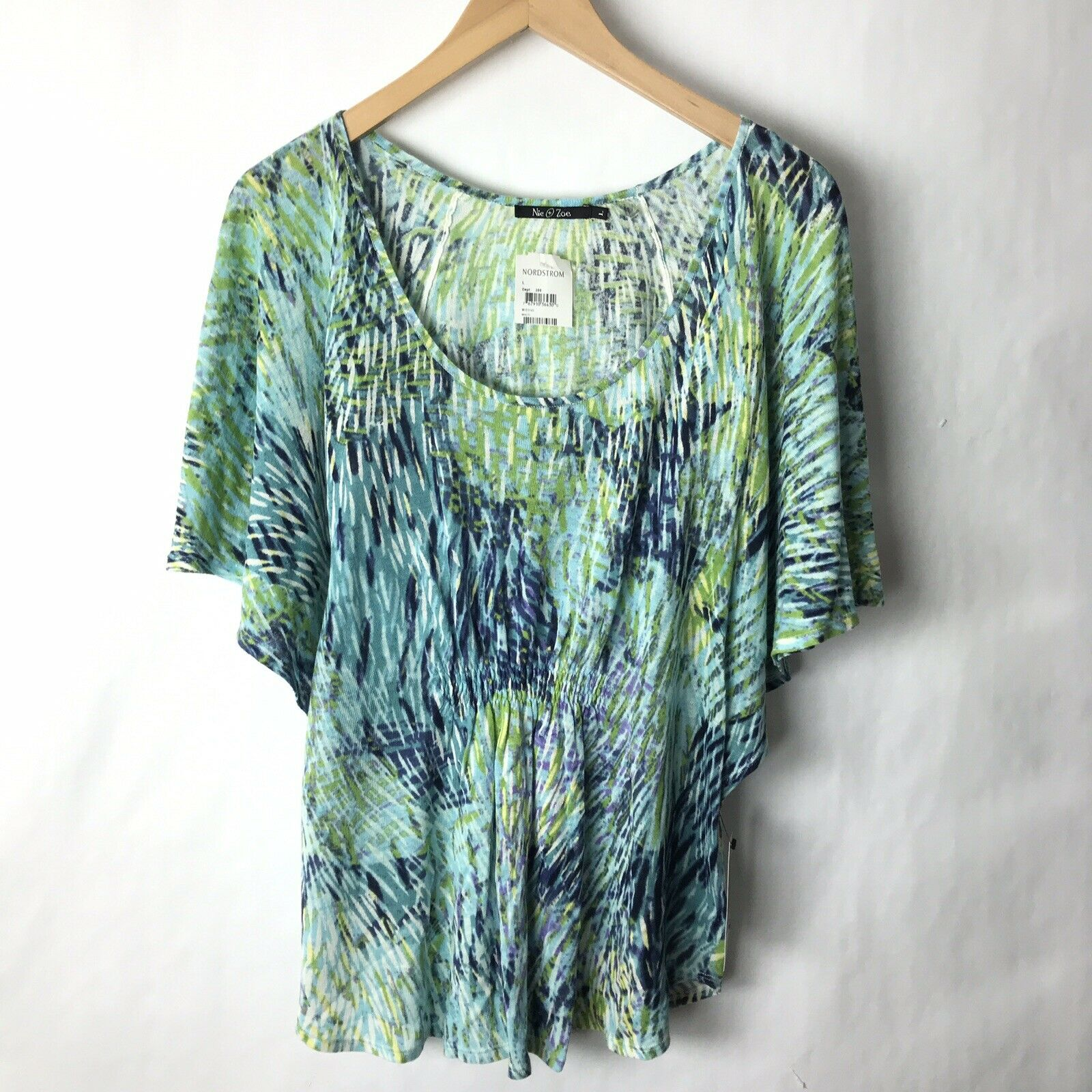 Nic zoe new large Top Dolman Sleeve Linen Knit Blau Grün Tie Dye Print