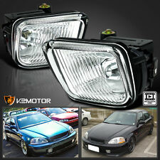 For Honda 96-98 Civic Clear Bumper Fog Lights Clear Lens Lamps+Switch