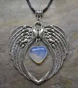 Large-Antique-Silver-Pl-Angel-Wing-Pendant-amp-Opalite-Heart-Necklace-Ladies-Gift