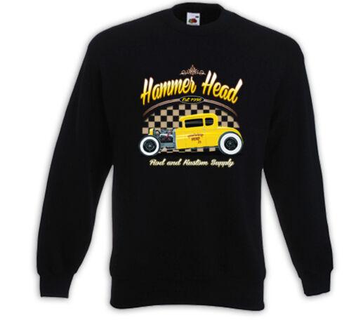 Hot Rod Pullover Hammer Head Rockabilly Vintage V8 Rat Rod USA