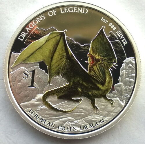 Tuvalu 2013 Green Dragon Dollar 1oz Colour Silver Coin,Proof