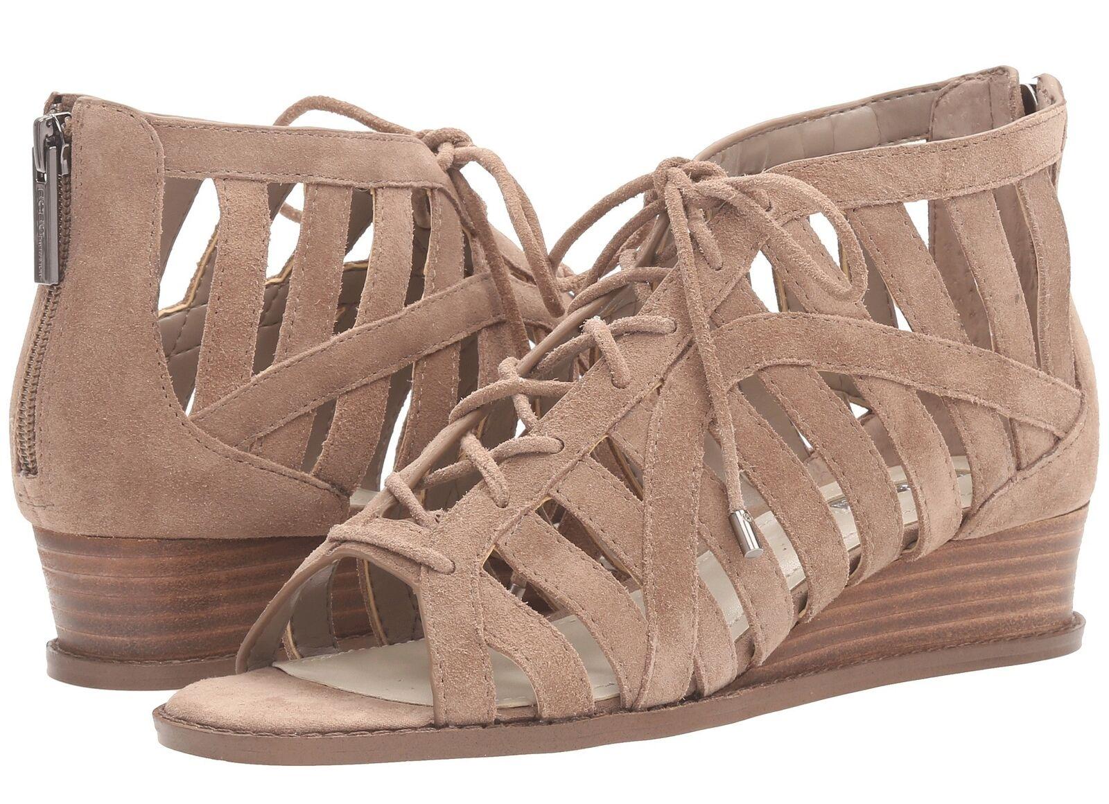 BCBGeneration Womens 'Madeya' Dark Beige Suede Wedge Sandals Sz 6.5 M - 231790
