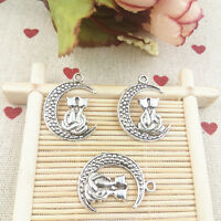 Jewelry Making,DIY 6pcs cat on the moon Alloy,Charm necklace earrings Pendants#
