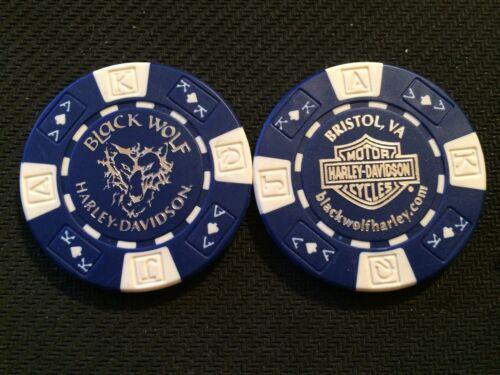 "Blue /& White Harley Davidson Poker Chip /""Black Wolf H-D/"" Bristol Virginia"