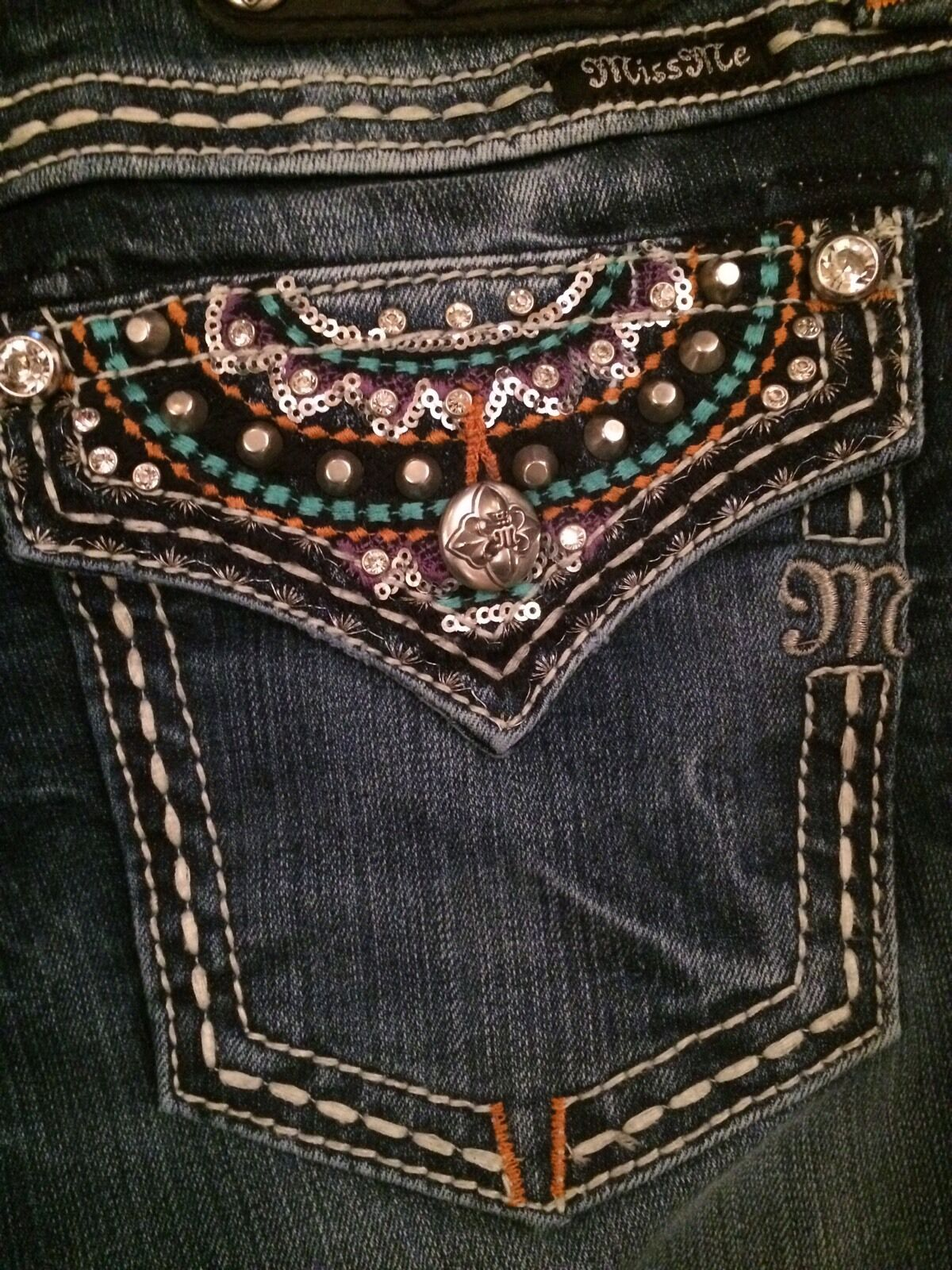 MISS ME Jeans 29 Boot Cut bluee Sz 29 x 29 Aztec Sequins Embroidery Embellished