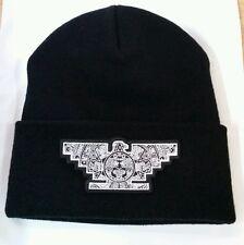 Mens Lowrider Hat Aztec Bird Custom Design Winter Beanie Silver & Black