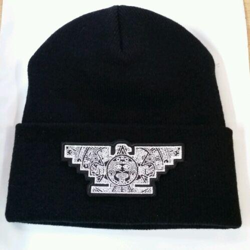 Mens Lowrider Hat Aztec Bird Custom Design Winter Beanie Silver /& Black
