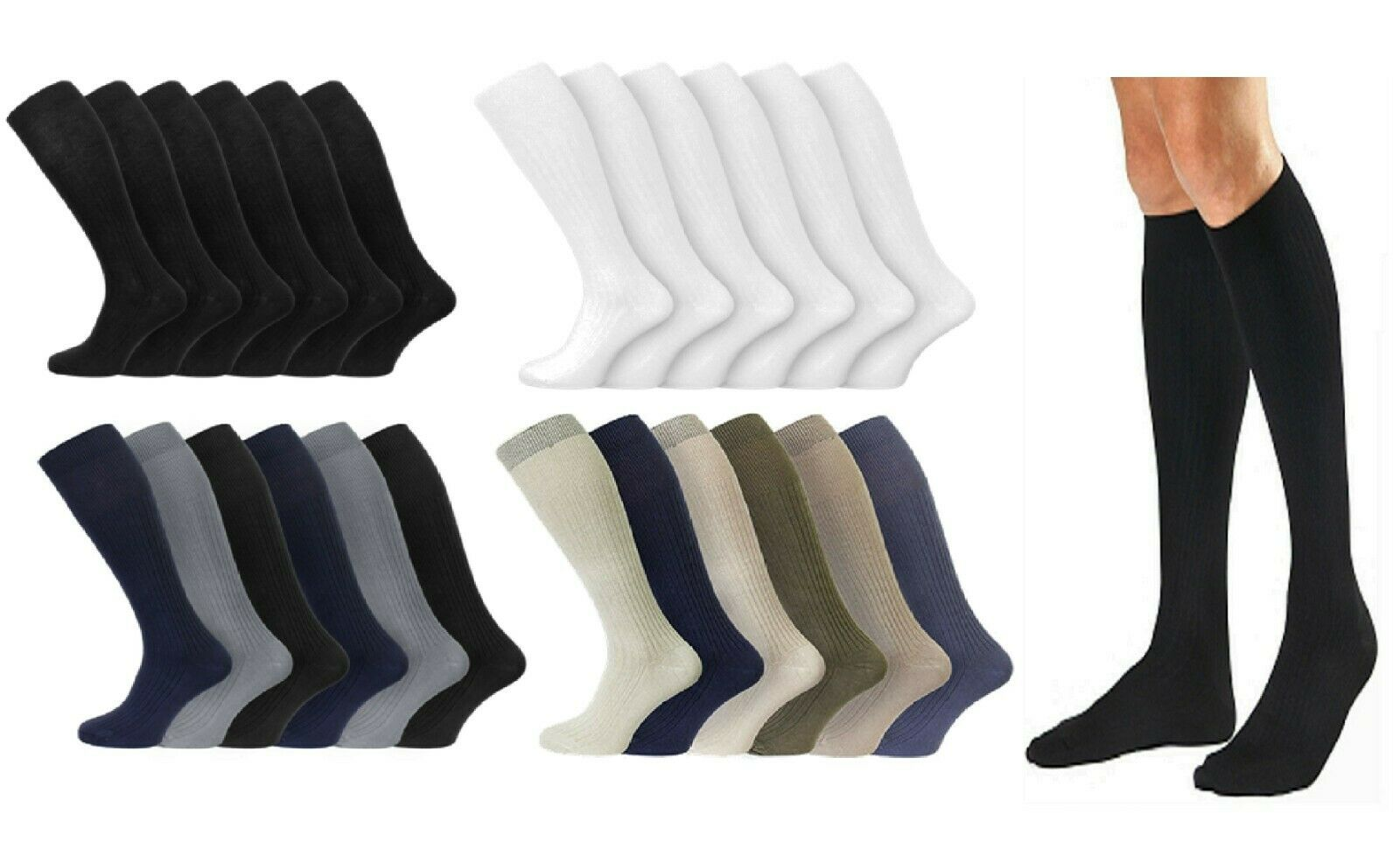 Mens Gents 6Pairs Long 100% Cotton Ribbed Soft Grip Knee High Casual Party Socks