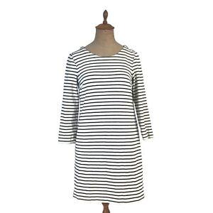 J-Crew-Dress-Maritime-Stripe-Knit-Shift-Dress-Navy-Blue-White-Striped-XS-E7077