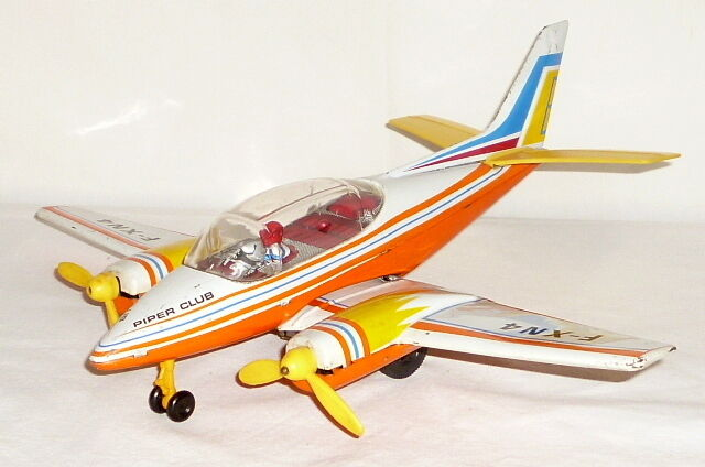 Old Aircraft Joustra Flyer Jet Tin Toy Metal Sheet Plane Piper Club Flyer