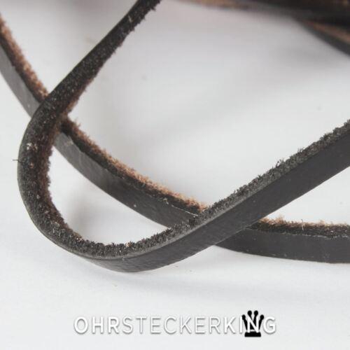 plana de 5 x 2 mm de nuevo Cintas de cuero cuero negro de teñido cuadrada