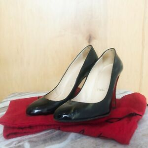 low priced 2efad 50cd6 Details about CHRISTIAN LOUBOUTIN Fifille Iridescent VE Glitter Black  Patent Pump Heel 37.5/7