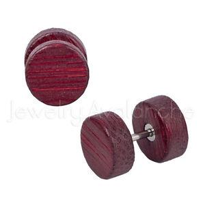 00G Fake Red Wood Ear Plugs, 16G Surgical Steel Plugs, Organic Cheater Plugs