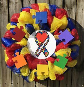 Multi Color Mesh Autism Awareness Wreath