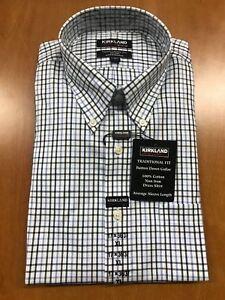 Kirkland-Signature-Traditional-Fit-Dress-Shirt-Non-Iron-Wrinkle-Free-Blue-Checks