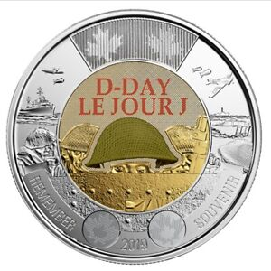 2019-Canada-D-Day-Toonie-2-Dollar-Coin-Colour-UNC-From-Roll