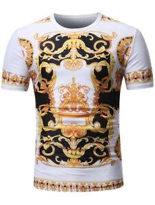 Para-Hombres-Verano-Estampado-Barroco-Angel-Superior-Manga-Corta-Camiseta-Algodon-Informal-Camisas