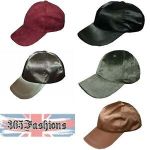 UNISEX-FAUX-SUEDE-SATIN-ADJUSTABLE-BASEBALL-CAP-SNAP-BACK-HAT-BLACK-LABEL