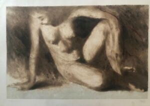 Monotype of Hernán Sosa. Untitled. Original signed by the artist. Peru art.